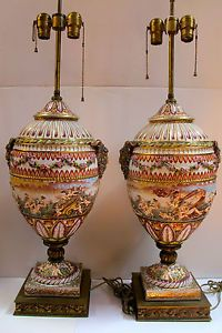 Capo Di Monte Pair Antique Large Hand Painted Porcelain Urns Lamps
