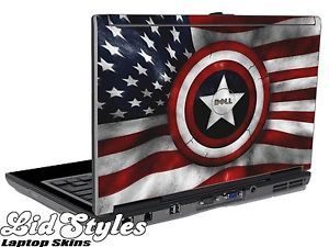 LidStyles Captain America Sheild Laptop Skin Decal Fits Dell Latitude D620 D630