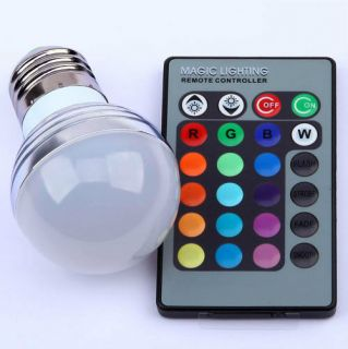 E27 RGB LED Light Bulb Remote Controller Magic Lighting 16 Colors Change