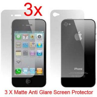 3X Front and Back Matte Anti Glare Screen Protector Cover Film for iPhone 4 4S