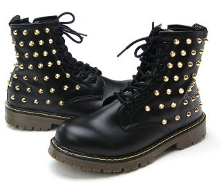 Womens Shiny Black Girls Faux Leather Gold Studs Zip Combat Boots Military Shoes