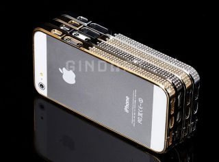 Bling Rhinestones Aluminum Metal Bumper Hard Case Cover for Apple iPhone 5 5g
