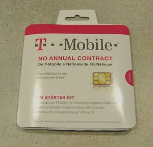 New T Mobile 4G Nano Sim Starter Kit for iPhone 5 5S 5c Unlocked GSM Phone