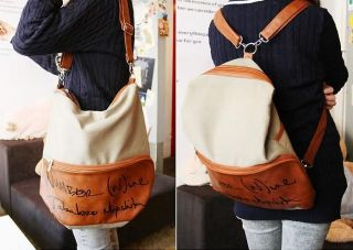 Korean Lady Girl Canvas PU Leather Hobo Backpack Satchel Shoulder Bag Free SHIP