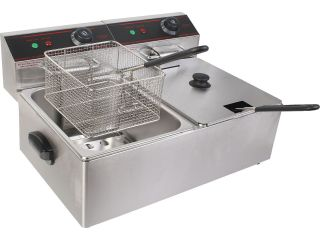Electric Countertop Deep Fryer Dual Tank Stainless Steel Commercial Restaurant