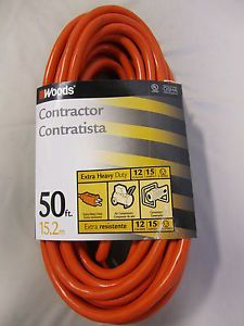 Woods 50' 3 Conductor 12 Gauge Heavy Duty Contractor Extension Cord