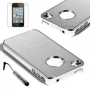 Stylus Silver Aluminum Steel Hard Cover Case for iPhone 4 4S w Screen Protector