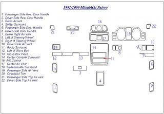 Mitsubishi Pajero Interior Wood Dash Trim Kit Set 1995 1996 1997 1998 1999 2000