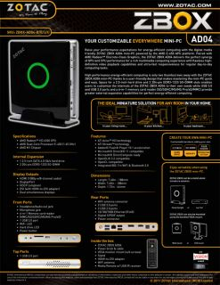 """New"" Zotac Mini PC Kit Z Box Media AMD Dual Core Radeon HDMI 1080p WiFi DDR3"