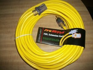 1 75' Foot Lighted Electrical Extension Cord 12 3 13 Amp 125 Volt New