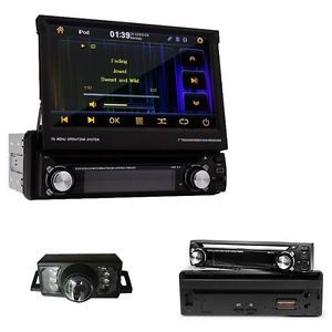 "Cool 1 DIN 7"" Car DVD Player GPS Navigation Touch Screen Bluetooth Camera"