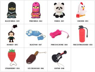 4GB Novelty Flashdrives USB 2 0 Thumb Flash Drive Memory Stick Multiple Styles