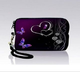 Butterfly Heart Design Digital Camera Case Bags Sleeve Pouch Coin Purse w Strap