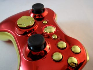 Iron Man Xbox 360 Modded Controller Rapid Fire Mod Black Ops Cod MW3 Chrome Gold