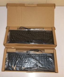 Lot of 2 IBM Lenovo Black Low Profile Slim USB Keyboards 54Y9489