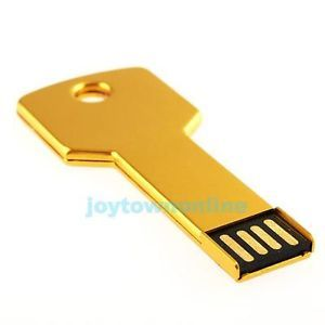Gold Metal Key Shape USB Flash Drive Memory Stick 16GB Flash Pen Drive JT1