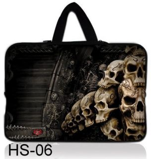 "Skull 16"" 17"" 17 3"" Soft Neoprene Laptop Netbook Sleeve Bag Case Cover Handle"