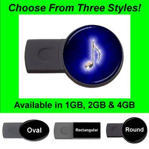 Blue Music Note USB Flash Memory Drive Stick Thumb Pen FD1072