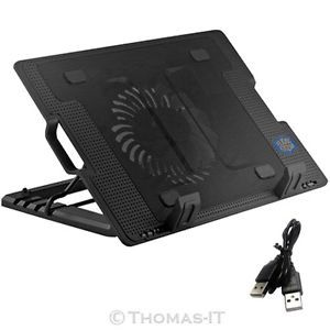 "18"" Laptop Notebook Cooler Cooling Pad Fan Stand 2 Port USB Hub 2 Blue LED Light"
