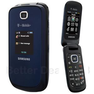Unlocked Samsung SGH T259   Midnight blue T Mobile 3G Cell Flip Phone