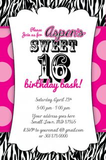 Details about Sweet 16 Zebra Print Invitation Birthday Party Baby