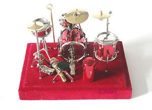Music Instrument Miniature Small Red Drum Set DR03R