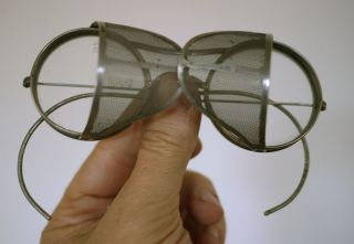 Vintage Antique Saniglass Kings Safety Glasses Goggles Mesh Steampunk Aviator
