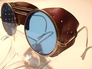 Vtg Willson Leather Safety Glasses Motorcycle Aviator Steampunk Goggles