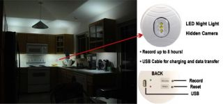 Self Recording LED Night Light Hidden Camera w DVR