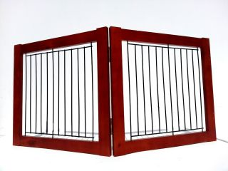 "2 Panel 36"" Folding Wood Pet Dog Gate Pen Playpen Barrier Wall Fence Divider"