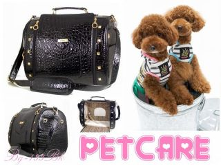 Pet Dog Cat Carrier Tote Handbag Crocodile Print Leatherette PVC Brown or Black