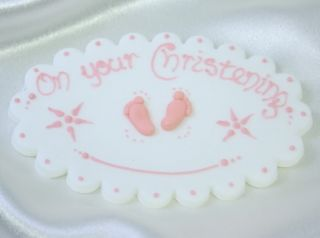 Personalised Christening Sugar Plaque Baby Cake Topper Decoration Christening