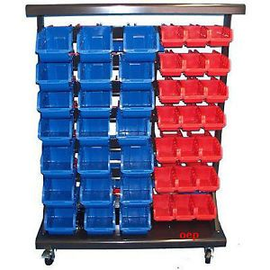 94 Removable Bins Mobile Storage Bin Rack Shelve New Auto Service Shop Home Tool