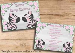 Twin Girls Zebras Baby Shower Double Printable Invites JPEG Cheap Invitations