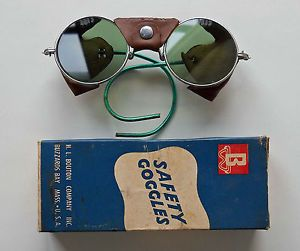Bouton Green Glass Leather Metal Safety Glasses Goggles Buzzard Bay Steampunk
