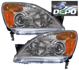 02 04 Honda CRV Chrome Projector Head Light Depo