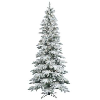Vickerman Flocked Utica Fir 9 White Artificial Christmas Tree with 495 LED White Lights with Stand