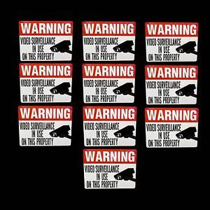 Video Surveillance Security Camera Warning Stickers Lot