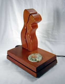 Vtg 1970s Teleconcepts Adam Eve Wood Modern Art Sculpture Designer Telephone