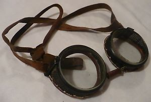 Vtg Antique Wilson Safety Motorcycle Glasses Goggles Steampunk