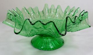Vintage Northwood Greek Key Scales Ruffled Edge Footed Compote Candy Dish Bowl