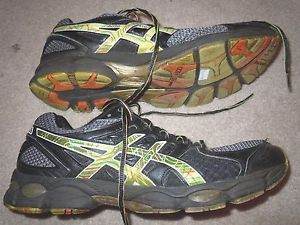 Asics Gel Nimbus 14 Men's Running Training Shoes Size 11 Black Green Used