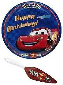 New Disney Cars Lightning McQueen 2 PC Set Birthday Cake Plate Server