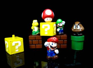5pcs Set Nintendo Video Games Super Mario Bro figure Cake Topper Toys