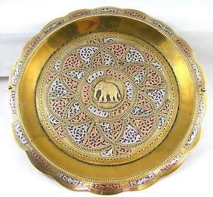 19th Cent Indian Elephant Silver Copper and Brass Wall Plate