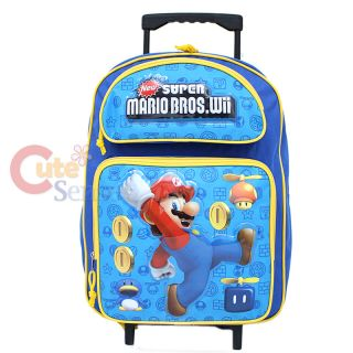 Super Mario Wii Large School Roller Backpack Lunch Bag Set Coin