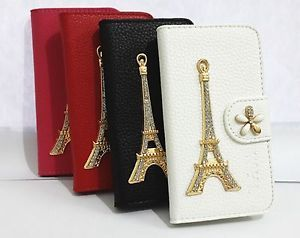 Bling Diamond Crystal Tower Card Holder Wallet Leather Case Cover for HTC Phones