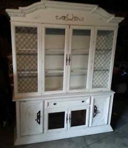 Shabby Chic China Hutch with Lighted Cabinets and Glass Shelves