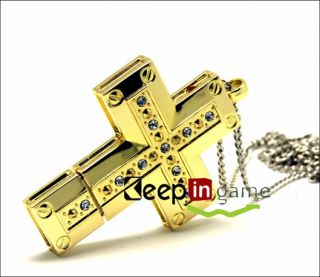 New 16GB Gold Jewellery Metal Cross USB 2 0 Flash Drive Memory Stick U Disk Pen