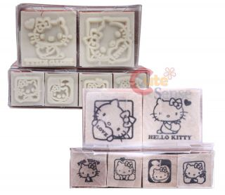Sanrio Hello Kitty Rubber Stamps Set Wooden 6pc Japan